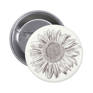 Sunflower drawing in Pen and Ink 6 Cm Round Badge