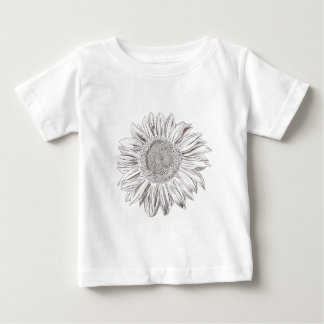 Sunflower drawing in Pen and Ink Baby T-Shirt