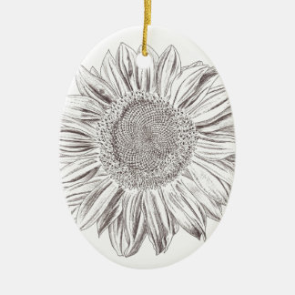 Sunflower drawing in Pen and Ink Christmas Ornament