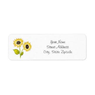 'Sunflower Duet' Return Address Label