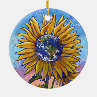 Sunflower Earth Art Christmas Ornament