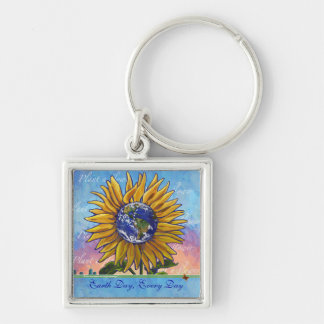 Sunflower Earth Day Every Day Keychain