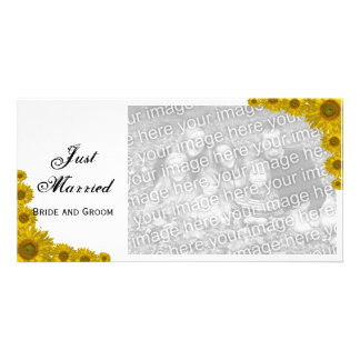 Sunflower Edge Just Married Announcement Personalized Photo Card