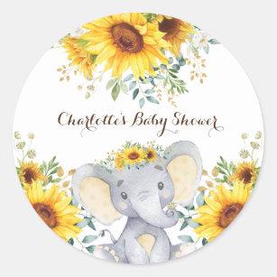 Sunflower Elephant Summer Birthday Baby Shower Classic Round Sticker