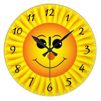 Sunflower Emoji Face Large Clock