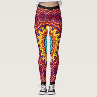 Sunflower Energy Mandala Indie Art Leggings