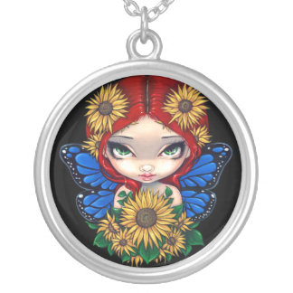 Sunflower Fairy NECKLACE flower pendant