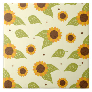 Sunflower Fall Autumn Pattern Tile