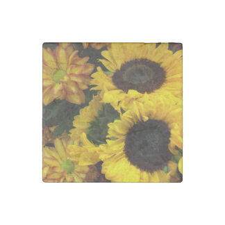 Sunflower Fall Flowers Stone Magnet