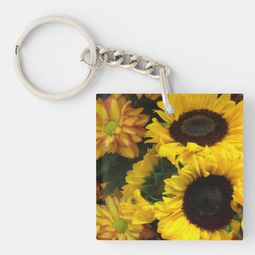 Sunflower Fall Flowers Keychain