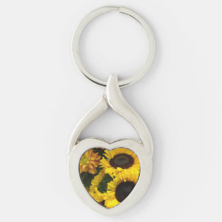 Sunflower Fall Flowers Silver-Colored Twisted Heart Key Ring