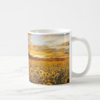 Sunflower field basic white mug