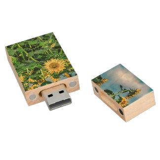 Sunflower Field Wood USB 2.0 Flash Drive