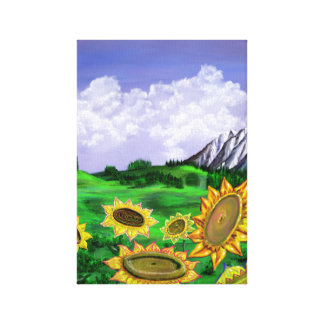 Sunflower Field Painting Canvas Print
