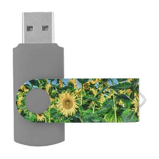 Sunflower Field Swivel USB 2.0 Flash Drive