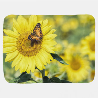 Sunflower Field with Butterfly Baby Blanket