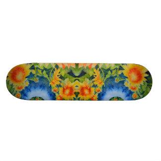 Sunflower fields forever -blue 21.6 cm old school skateboard deck