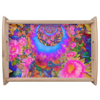 Sunflower fields forever  - pink serving tray
