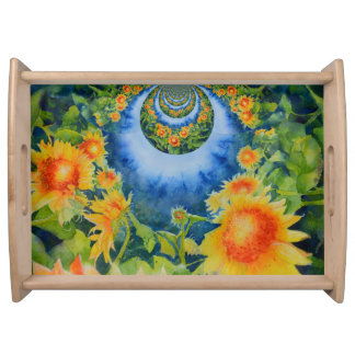 Sunflower fields forever serving tray
