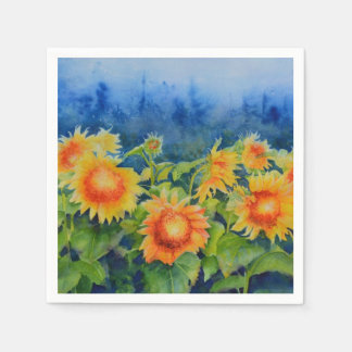 Sunflower fields paper napkins