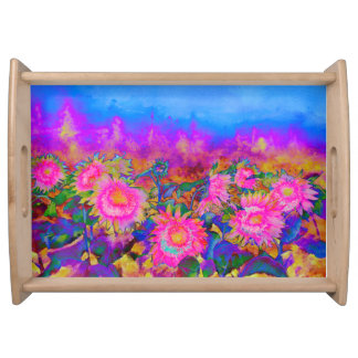 Sunflower fields  - pink serving tray