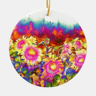 Sunflower Fields Round Ceramic Decoration