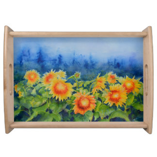 Sunflower fields serving tray