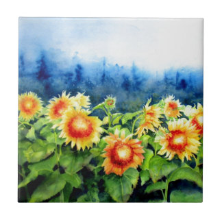 Sunflower Fields Small Square Tile