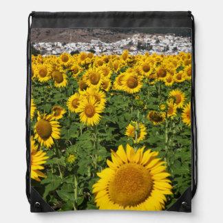 Sunflower fields, white hill town of Bornos Drawstring Bag