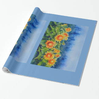 sunflower fields wrapping paper