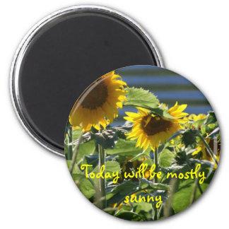 Sunflower Flair 6 Cm Round Magnet