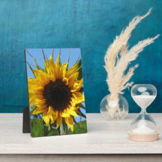Sunflower Floral Image - Photo Plaque & Easel