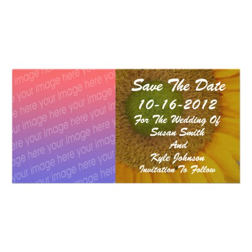 Sunflower Floral Photo Wedding Save Date Photo Greeting Card