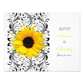 Sunflower Floral Response Card Custom Invitation