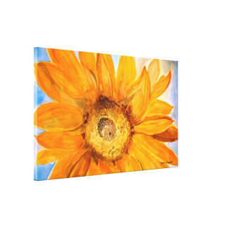 Sunflower Floral Watercolor Print Wrapped Canvas