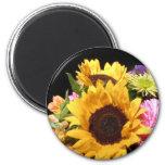 Sunflower Flower Bouquet Sunflowers Floral Photo Refrigerator Magnet