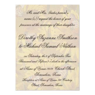Sunflower Flowers Butterflies Floral Wedding 17 Cm X 22 Cm Invitation Card