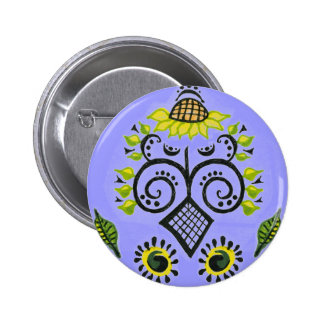 Sunflower Folk Pattern by Alexandra Cook 6 Cm Round Badge