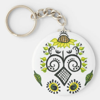 Sunflower Folk Pattern by Alexandra Cook Basic Round Button Key Ring