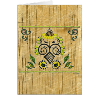 Sunflower Folk Pattern by Alexandra Cook Greeting Card