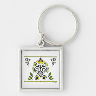 Sunflower Folk Pattern by Alexandra Cook Silver-Colored Square Key Ring