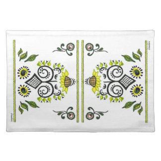 Sunflower Folk Pattern by Alexandra Cook Place Mats