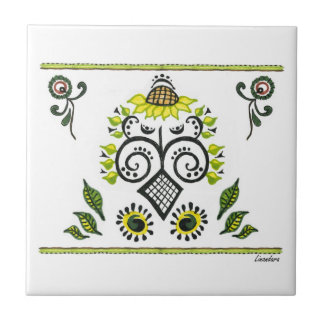 Sunflower Folk Pattern by Alexandra Cook Small Square Tile