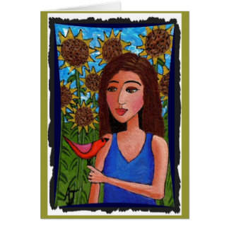 Sunflower Forest, Girl & Red Bird - greeting card