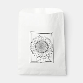 Sunflower Frame Line Art Design Favour Bags
