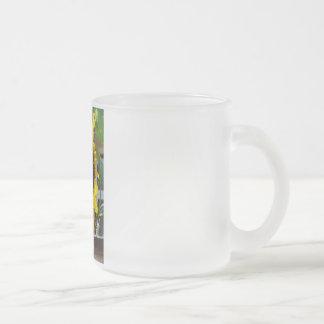 sunflower frosted glass mug