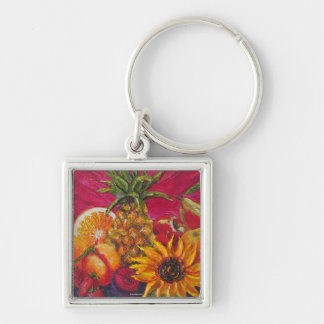 Sunflower & Fruit Silver-Colored Square Key Ring