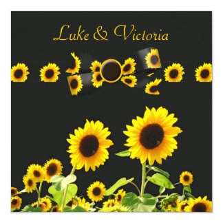 Sunflower Garden Wedding On Black 5.25x5.25 Square Paper Invitation Card