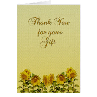 Sunflower Gift Thank You Greeting Card