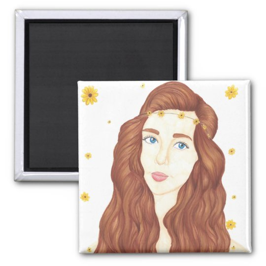 Sunflower Girl - 2 Inch Square Magnet